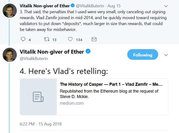 Поток комментариев от Виталика Бутерина по поводу Casper